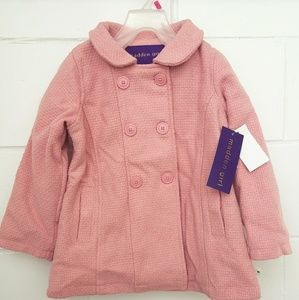 Madden Girl Kid Girls Faux Wool PeaCoat Pink Sz4